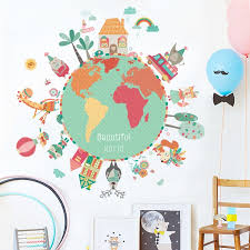 World Map Animals Wall Stickers Room Decorations Diy Cartoon Children Home Decals Kids Room Decoration Mural Art Leather Bag