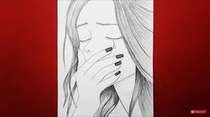 تعلم الرسم للمبتدئين رسم فتاة حزينة رسم وجه حزين رسوم تعبيرية