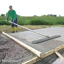 forms and pouring a concrete slab