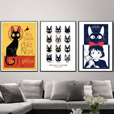 Cartoon Kiki S Delivery Service Japan Hayao Miyazaki Anime Canvas Painting Vintage Kraft Posters Coated Wall Stickers Home Decor Painting Calligraphy Aliexpress