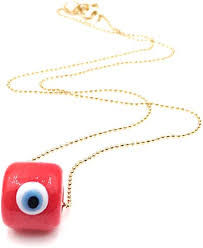 aa evil eye red crystal necklace 18k
