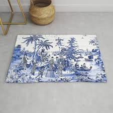 chinoiserie blue landscape rug by