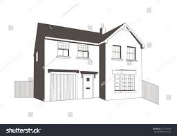 Line Drawing Detached House Internal Garage Stock Vector Royalty Free 761414578