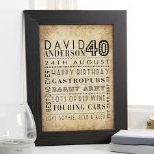 40th birthday gifts present ideas for