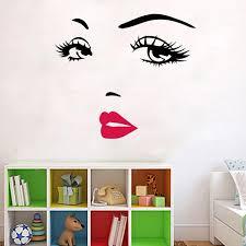 Ylshrf Black Pvc Wall Sticker Beautiful Woman Face Vinyl Art Decal Home Bedroom Decor Removable Room Wall Sticker Wall Decal Walmart Com Walmart Com