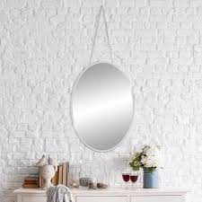 hanging chain oval silver wall mirror