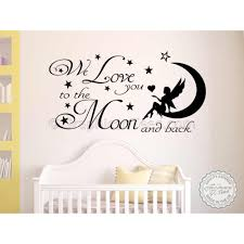 Nursery Wall Sticker We Love You To The Moon And Back Baby Boy Girl Bedroom Wall Quote Decor Decal