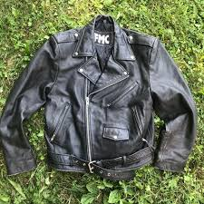 fmc leather motorcycle jacket sz l