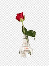 ضوء الجدول الزجاج زهرية زهور روز الزجاج والزهور الاصطناعية Png