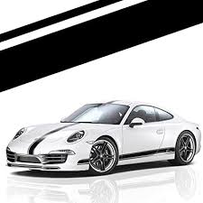 Amazon Com Xotic Tech Left Side Vinyl Stripe Car Body Decal Racing Rally Sporty Sticker For Porsche 911 Macan Cayenne Hood Roof Rear Trunk Black Arts Crafts Sewing