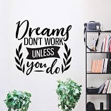 Inspirational Wall Decal Dreams Dont Work Unless You Do Etsy