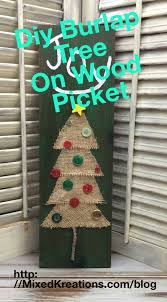 Burlap Tree On Wood Picket Christmas Mixed Kreations