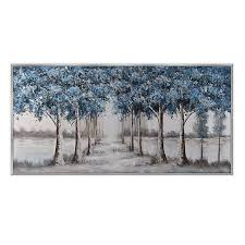 Ren Wil Blue Forest Trees 31 Inch X 60 Inch Canvas Wall Art Bed Bath Beyond
