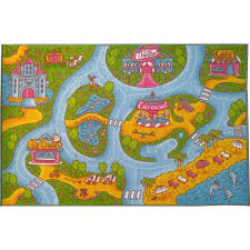 Kc Cubs Multi Color Kids And Children Bedroom And Playroom Girls Road Map Educational Learning 3 Ft X 5 Ft Area Rug Kcp010004 3x5 The Home Depot