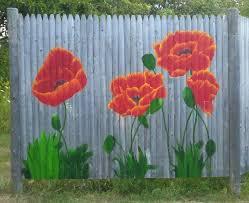 My Poppies Love Them Flower Mural Fence Art Outdoor Wall Art