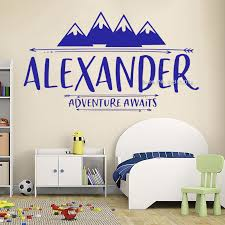 Waliicorners Personalized Baby Name Decals Adventure Awaits Wall Decor Art Mountains Children Nursery Wall Decal Stickers Vinyl Murals Lc1439 Waliicorner S Store
