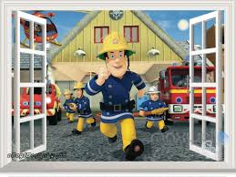 Fireman Sam Fire Engine 3d Window Wall Decals Removable Stickers Kids Art Decor For Sale Online