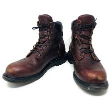 red wing usa made brown leather biker