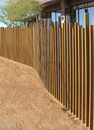 Vertical Pillars Of Different Heights Modern Fence Design Fence Design Backyard Fences