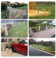 No Dig Wood Post Bollard Picket Rope Fence Wall Driveway Path Garden 4 Post 6m 70 00 Picclick Uk