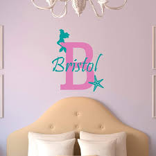 Amazon Com Custom Name Mermaid Wall Decal Girls Personalized Name Mermaid Starfish Wall Sticker Custom Name Sign Custom Name Stencil Monogram Baby Girl Nursery Room Wall Decor Handmade