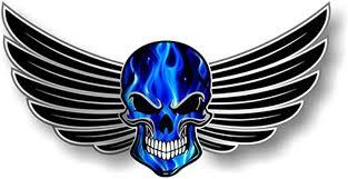 Amazon Com Car Sticker 13cm X 7cm Skull With Wings Motif Electric Blue Flames External Vinyl Decal Decorate Car Sticker Home Kitchen