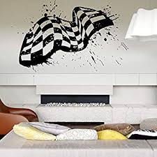 Amazon Com Wall Decal Room Sticker Racing Flag Formula 1 Speed Road Bedroom Boys Art Bo2975 Baby