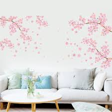 Extra Large Pink Plum Blossom Flowers Tree Branches Wall Stickers For Living Room Tv Background Decor Removable Pvc Wall Applique Home Deocr Kids Room Wall Stickers Kids Vinyl Wall Art From Magicforwall