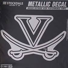 Amazon Com Virginia Cavaliers Uva 12 Large Silver Metallic Vinyl Auto Decal University Of Sports Outdoors