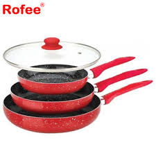 marble stone coated red frying pan s