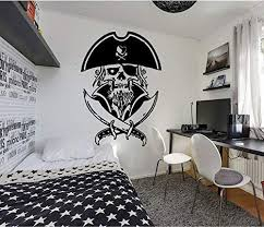 Amazon Com Pirate Wall Decals For Boys Room Pirate Ship Jolly Roger Map Crossbones Pirate Decorations For Home Nursery Room Pirate Door Stickers Pi093 Home Kitchen