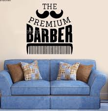 ᗔpremium Barber Shop Mustage Comb Wall Room Decal Vinyl Sticker Mural Decor For Man S Hairdressing Ba12 A469
