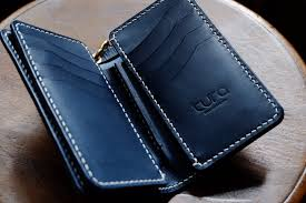 navy trucker wallet leather wallet