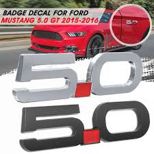 Metal Car 5 0 Decal Sticker Cover For Fender Emblem Bandage Decoration For Ford Mustang 5 0 Gt 2015 2016 Car Stickers Aliexpress