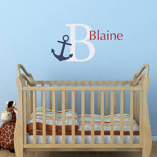 Anchor Initial Name Wall Decal Set Nautical Wall Decal Preppy Wall Stephen Edward Graphics