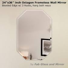 x 30 in octagon frameless wall mirror