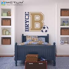 Soccer Wall Decal Personalized Name And Initial For Teen Boys Bedroom Sports Wall Decal Football Wall Stickers For Kids Rooms Decals Stripes Stickers Creativesticker Decor Aliexpress