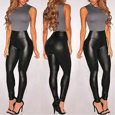 summer black faux leather leggings for
