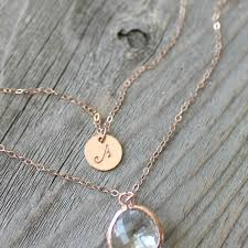 14k rose gold filled layered initial