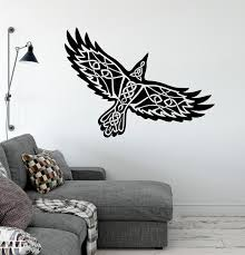 Vinyl Wall Decal Celtic Ornament Raven Ethnic Style Pattern Bird Stick Wallstickers4you