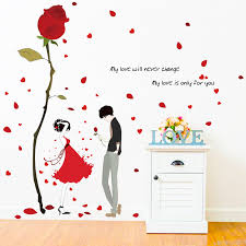 Red Rose Wall Sticker Romantic Love Rose Flower Vinyl Diy Removable Wall Decals For Living Room Bedroom Couples Room Decoration Removable Wall Decals Wall Decalsflower Vinyls Aliexpress