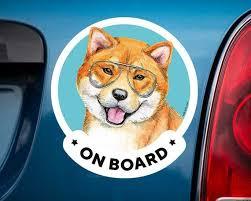 Shiba Inu On Board Car Window Sticker For Women Akita And Etsy Shiba Inu Dog Christmas Gifts Car Window Stickers