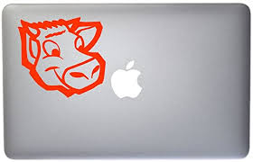 Amazon Com Cartoon Cow Face Vinyl Decal For Macbook Laptop Or Other Device 5 Inch Orange Kitchen Dining