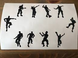 9 X Nite Xbox Dancing Men Wall Stickers Size 10cm Tall Fort Water Bottles Ect