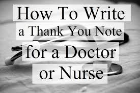 thank you notes for doctors and nurses