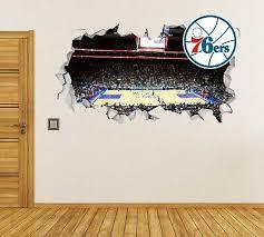 Philadelphia 76ers Wall Decal Smashed Nba Sport 3d Art Sticker Vinyl Js1628 19 95 Picclick