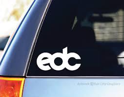 New Edc Logo White Vinyl Decal Sticker Edm Dance Car Laptop Trance Dj Las Vegas Ebay