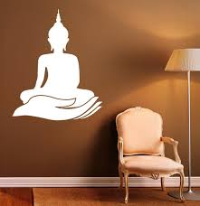 Buddha Wall Decal Indian Design Lotus Flower Vinyl Stickers Etsy