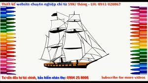 how to draw a sailboat step by step, vẽ thuyền buồm, tô màu thuyền ...