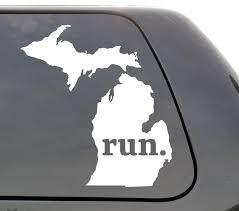 Michigan Run Decal Michigan Mi Run Decal State Running Etsy